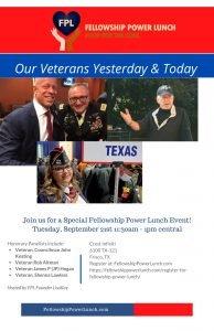 Fellowship Power Lunch Special Veterans Event September 2021